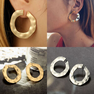 Creative-Women-Silver-Gold-Hoop-Earring-Punk-Statement-Ear-Stud-Earrings-Jewelry
