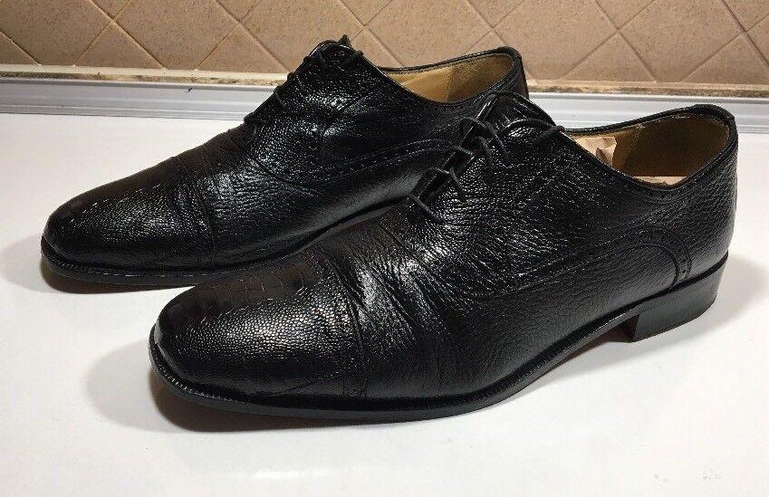 195-Belvedere Florence Véritable Cuir D'Autruche Chaussures Noires Hommes Sz 11 M
