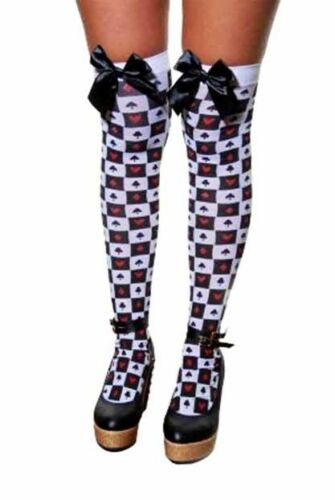 NEW WOMEN LADIES THIGH HIGH OVER THE KNEE STOCKINGS WITH BOW FANCY DRESS HOLD UP