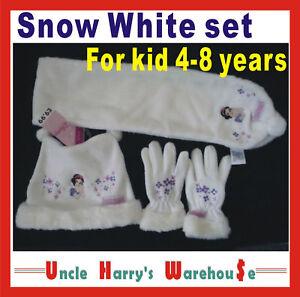Girls-DISNEY-SNOW-WHITE-warm-HAT-BEANIE-SCARF-SET-FOR-AGE-4-8-winter-new