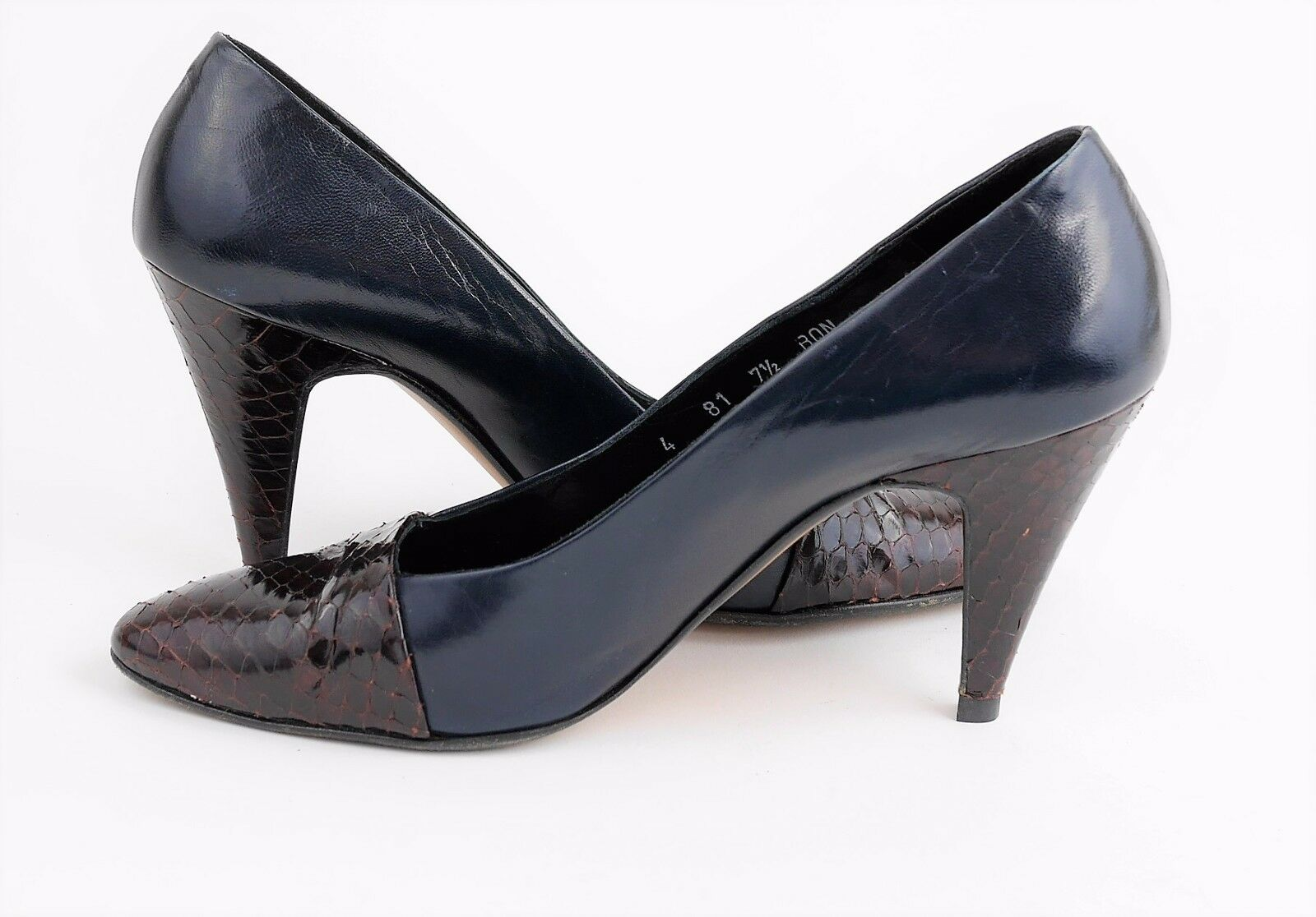 PANCALDI Snakeskin NEIMAN-MARCUS Navy Blau Leder Snakeskin PANCALDI High Heels Pumps  WOMEN'S 7.5 8d0fac