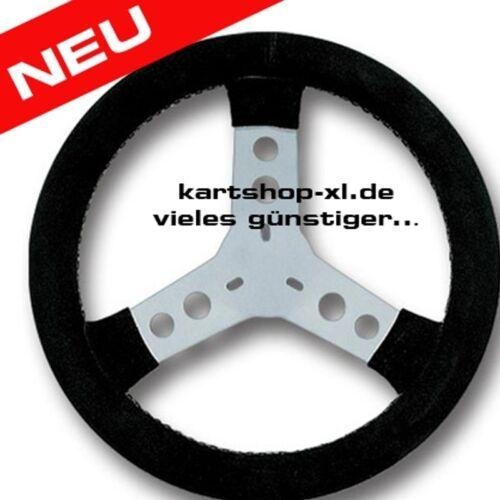 Lenkrad Wildleder schwarz rund 300 mm Kart Rennkart Alu