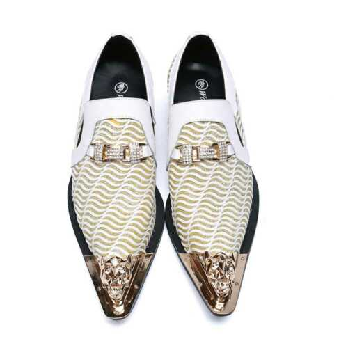 Men/'s Fashion Formal Metal Decor Pointy Toe Leather Shoes Youth Wedding Shoes