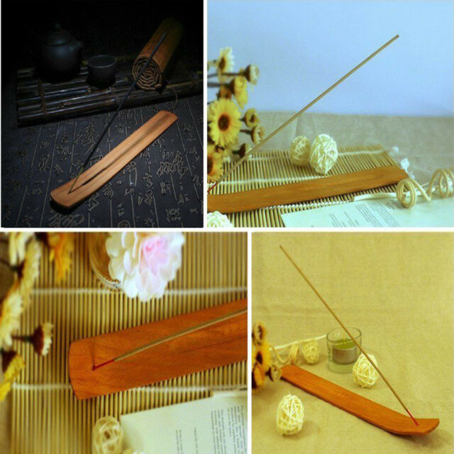 1Pc Plain Natural Wood Wooden Incense Burner Stick Ash Catcher Holder Useful