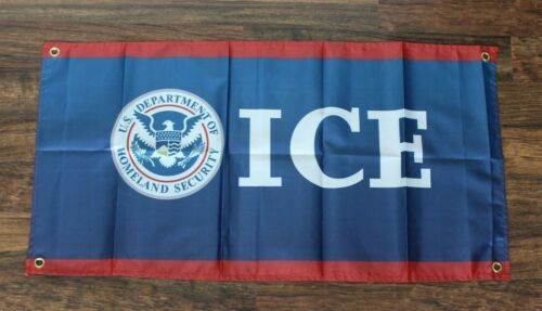 ICE Banner Flag Immigration Customs Enforcement Patrol Border Trump 2020 Rally