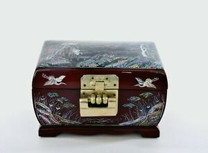 Vintage Korean Lacquer Wood Mother of Pearl Inlay Jewelry Box Chest Lock Crane