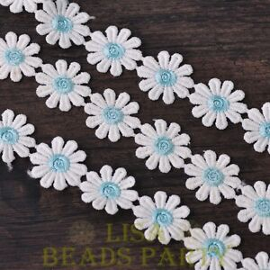 NEW-1-Yard-0-95-039-039-Width-Embroidered-Lace-Trim-Applique-DIY-Crafts-Light-Blue