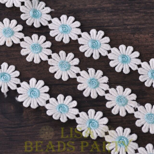 NEW 1 Yard 0.95'' Width Embroidered Lace Trim Applique DIY Crafts Light Blue