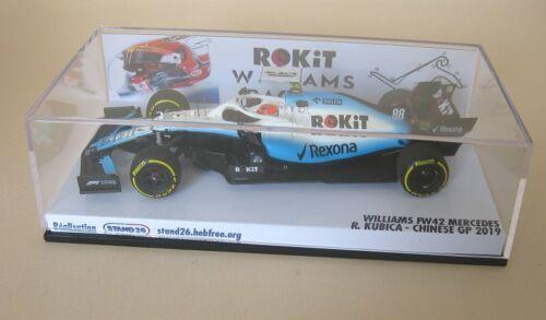 Decals Williams FW42 Russell Kubica Australian GP 2019 1//43e pour Minichamps