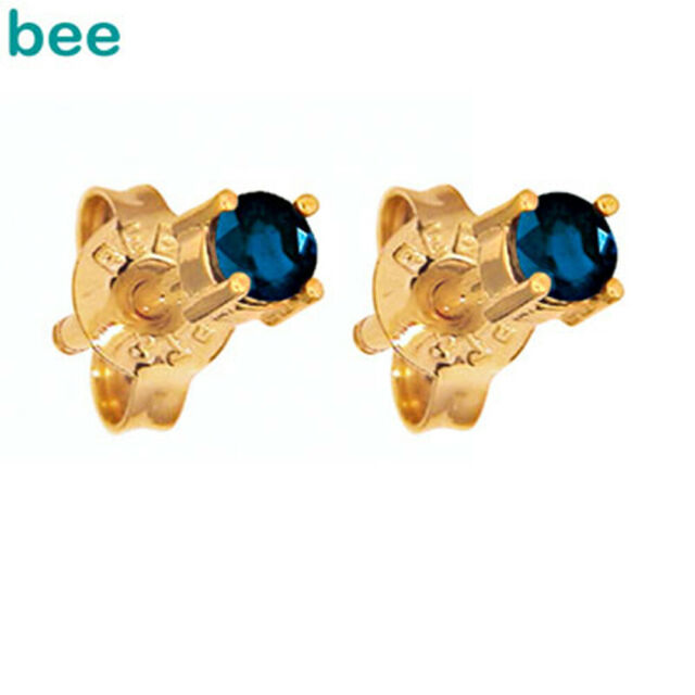3mm Sapphire 9ct 9k Solid Yellow Gold Stud Earrings 51441/S30