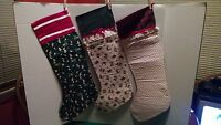 Lot Of 3 100% Handmade Christmas Stockings Geese Girl, Mice, Holly Large
