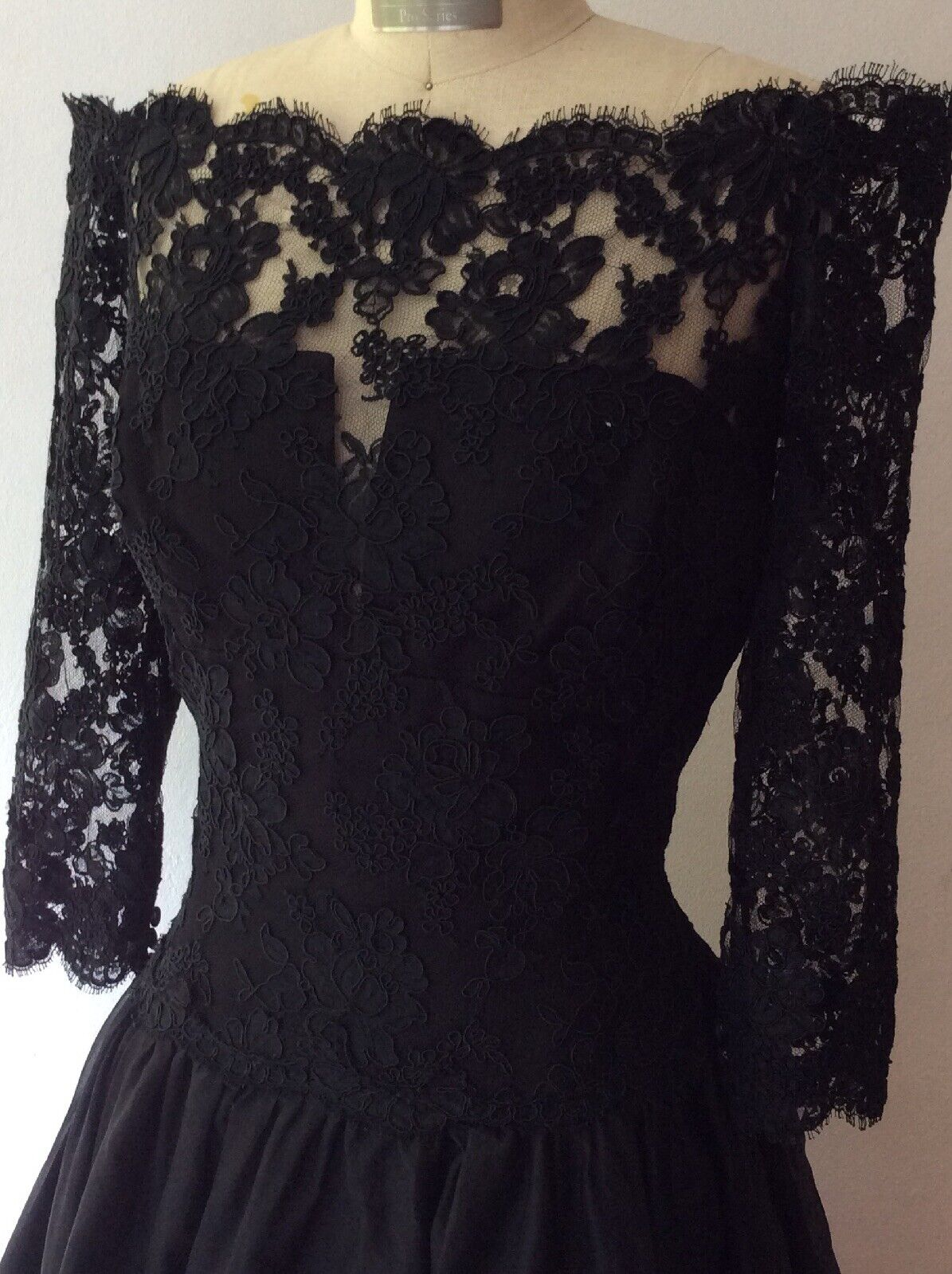 Black Long Silk Lace Amsale Ball Gown Size 14