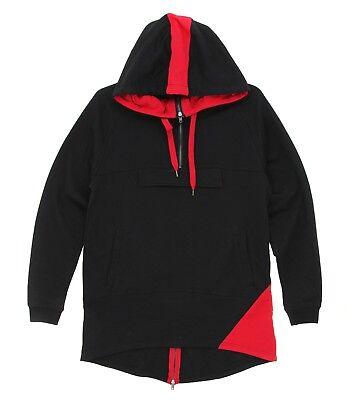Activewear Clothing, Shoes & Accessories Men's Size 3xl Bleecker & Mercer Black & Red Anorak High Lo Hem Zip Hoodie