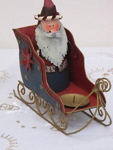 Santa-im-Schlitten-Metall-Weihnachtsmann-Kerzenhalter-Weihnachten-Deko