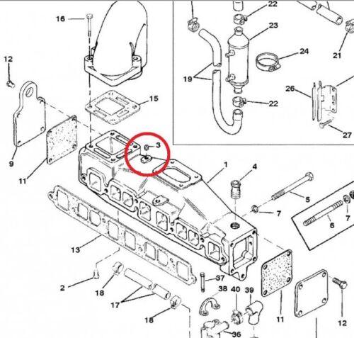 Wasserablassstopfen .250-18x.62 Messing Mercury Mercruiser Wasserstopfen Stopfen