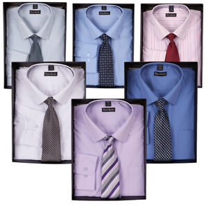 fee08a261c85 Mens Single Cuff Formal Work Shirt & Tie Box Set By Pierre Roche   eBay