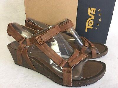 Teva Ysidro Universal Wedge Leather Womens Sandal Low Heel Shoes Brown 1015119 | eBay