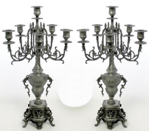 2 Kerzenleuchter Jugendstil Kerzenständer Antik Beisteller Kaminleuchter Schwarz