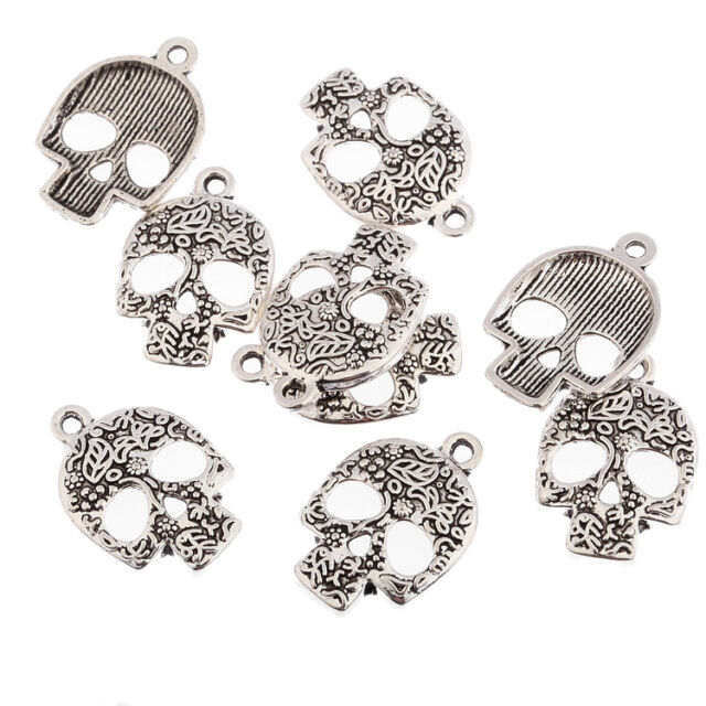 Sugar skulls halloween Tibetan Silver bead charms Pendants fit bracelet 10pcs