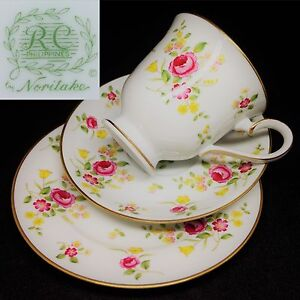 Image is loading RC-Philippines-by-Noritake-c1980s-Vintage-China-Trio- & RC Philippines by Noritake c1980s Vintage China Trio Set Cup Saucer ...