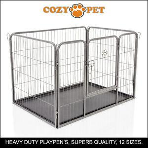 Heavy-Duty-Cozy-Pet-Puppy-Playpen-Run-Crate-Pen-61cm-High-Dog-Cage-ABS-Floor