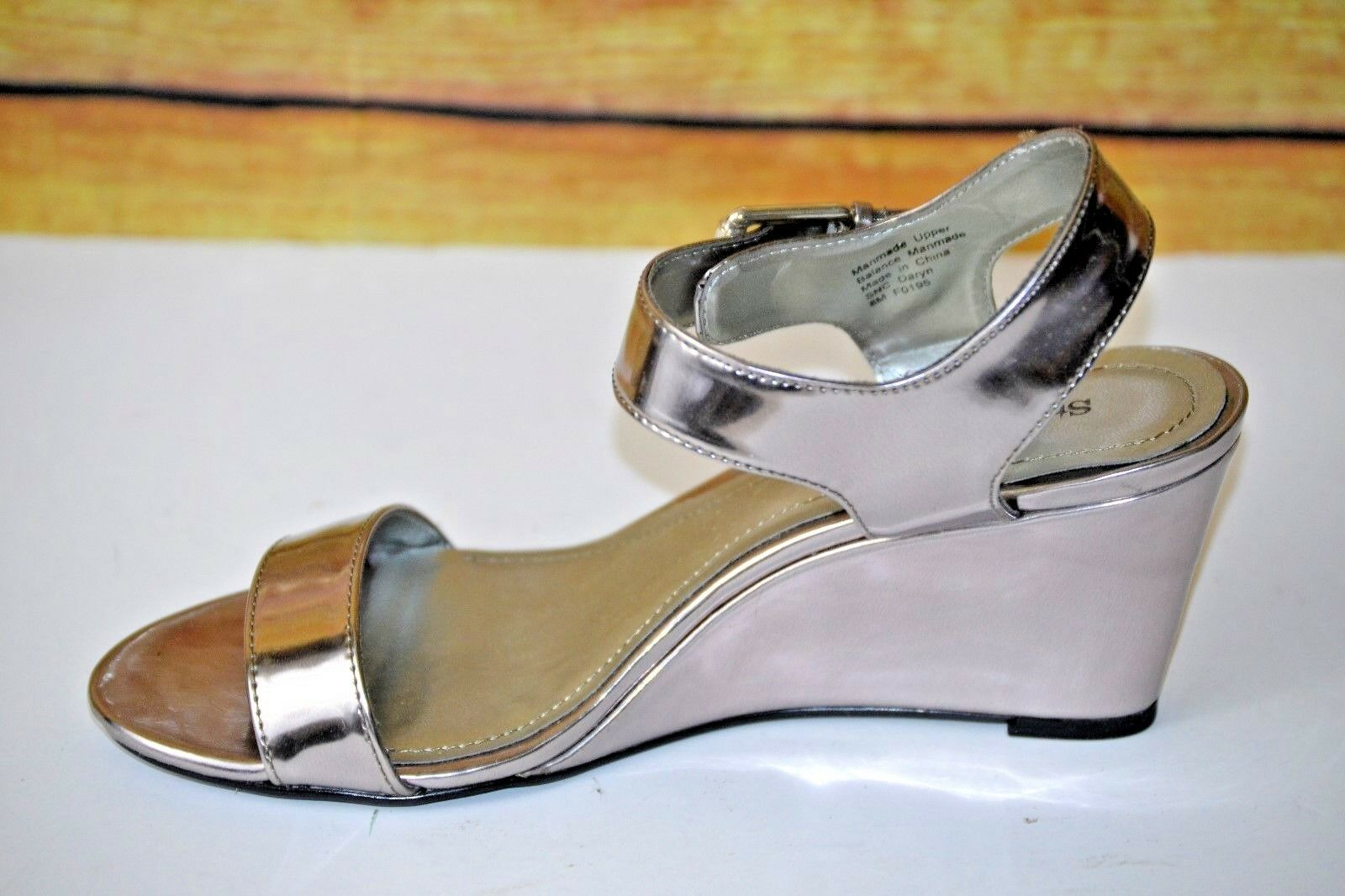 Style&Co. Daryn Womens Wedge Pewter Open Toe Slingback Sandal Pewter Wedge 8 M US 1531cc