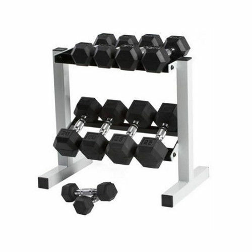 Dumbbell Set And Rack For Sale: CAP 150lbs Rubber Hex Dumbbell Weight Set 5