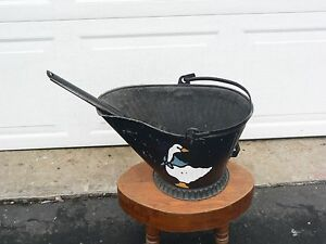 Vintage Black Galvanized Scuttle Coal Ash Bucket with Shovel Fireplace Décor