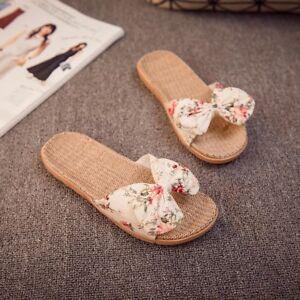 4d7abba98 1 Pair Women Girls Bow Tie Summer Sandals Linen Slippers Beach Shoes ...