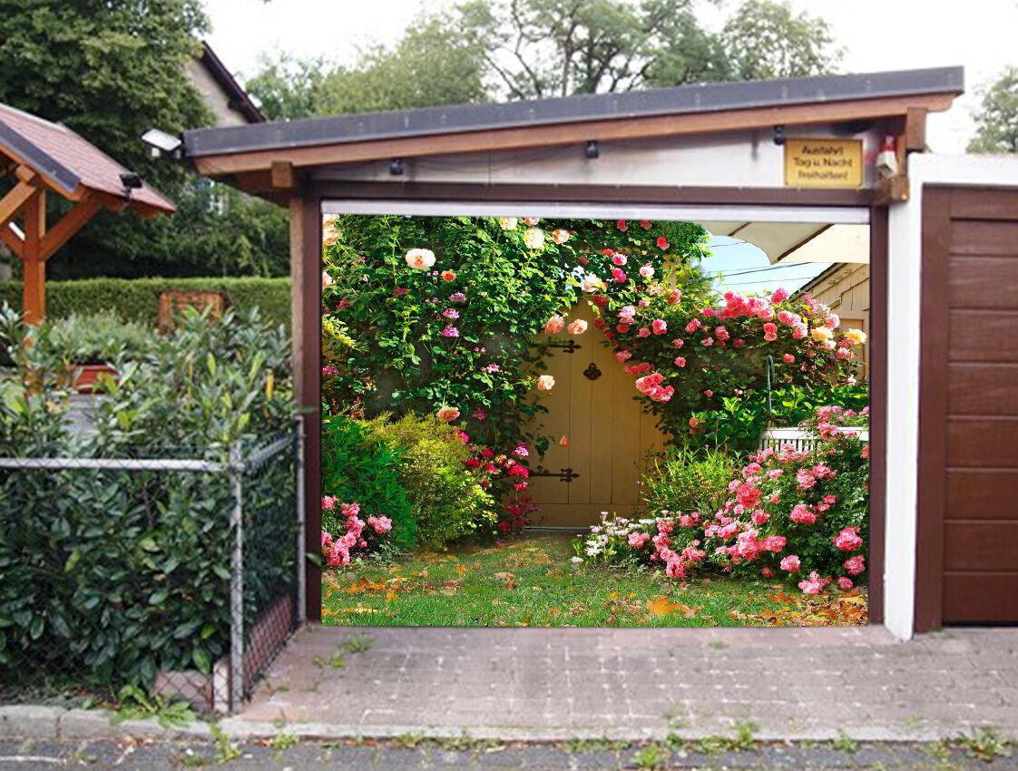 3D House Flowers 4 Garage Door Murals Wall Print Decal Wall Deco AJ WALLPAPER IE