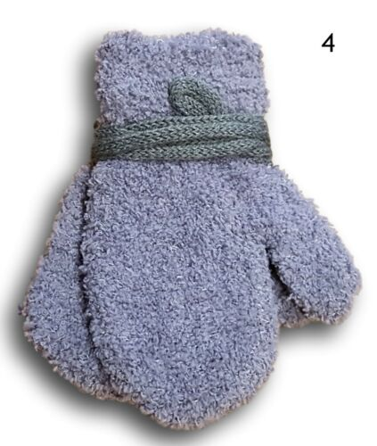 Baby Boys Toddler Winter Fluffy Mittens With String Plain Gloves Size 0-24 Month