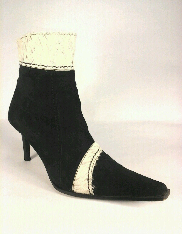 Pierre Cardin Tobillo botas Vintage Gamuza Pony Cabello Negro Animal US 7.5 38