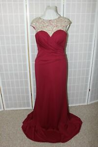 NWT Size 10 Wine beaded long formal evening gown, Eleni Elias M199 $690