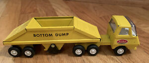 vintage-Tonka-bottom-dump-truck-mini-pressed-steel-1970-039-s-Yellow-2-Pieces-rare