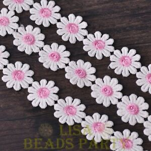 NEW-1-Yard-0-95-039-039-Width-Embroidered-Lace-Trim-Applique-DIY-Crafts-Light-Pink