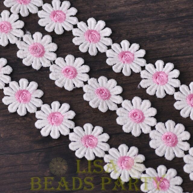 NEW 1 Yard 0.95'' Width Embroidered Lace Trim Applique DIY Crafts Light Pink