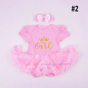 Baby-Girl-First-1st-Birthday-Party-Tutu-dress-2ps-set-Romper-Headband-Outfit