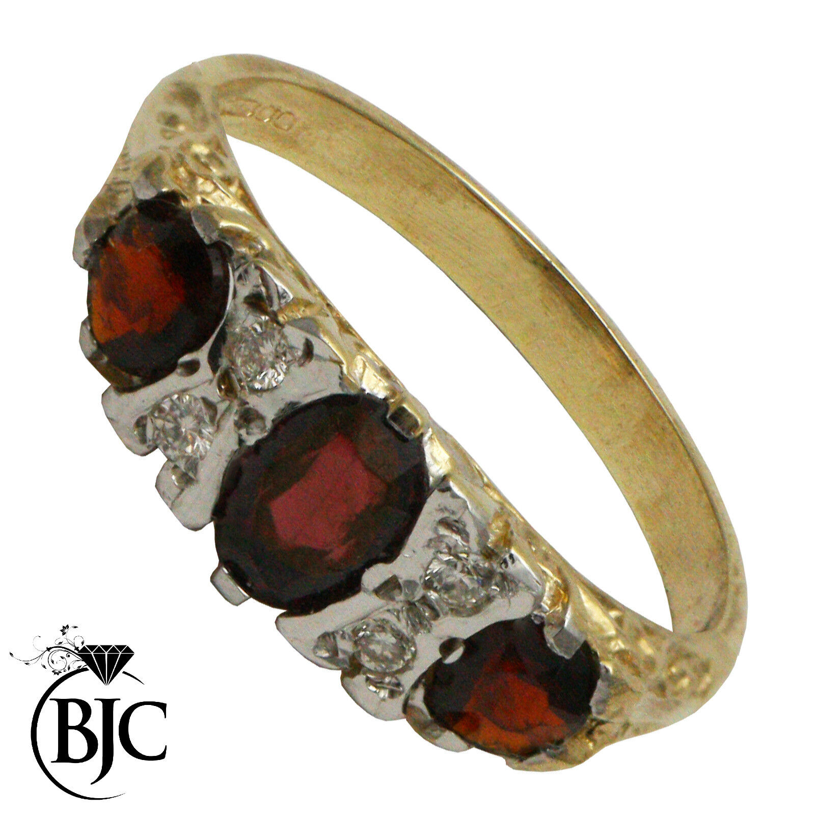 BJC 9 Ct Or yellow Grenade & Diamant Ovale Gypsy BAISER BAGUE size M R127