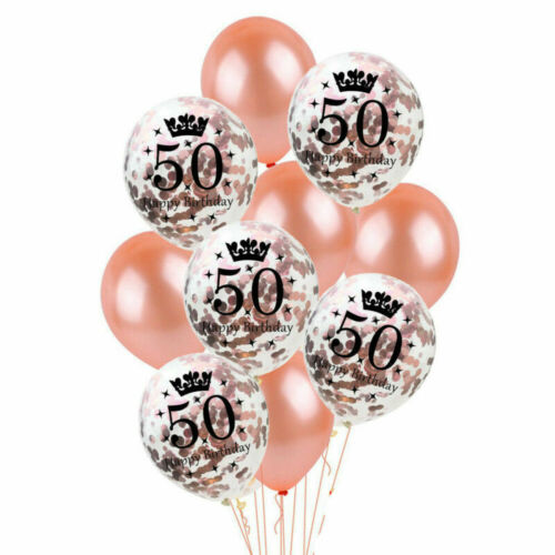 Rose Gold Foil Number Happy Birthday Balloons 18//21st//30//40//50//60th Decoration