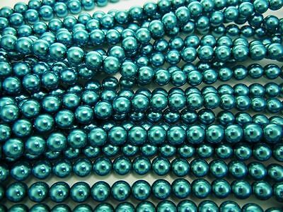 Steel Blue nacre pearl color Czech Round Glass Imitation loose Pearls