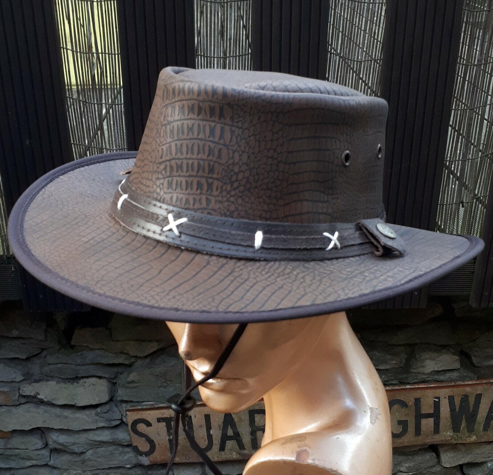 Sombrero de cuero cocodrilo óptica piel australia marrón S M L XL