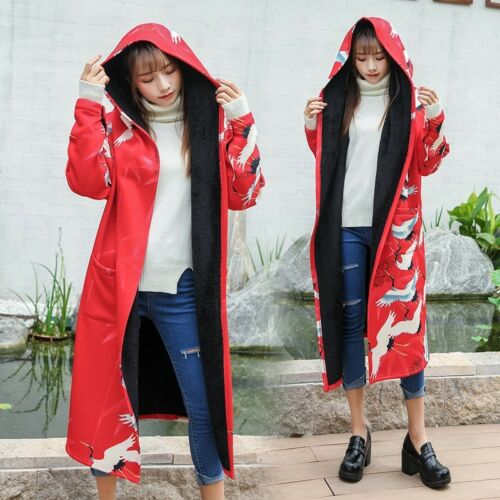 Længde Chic Lined Jacket Women Toppe Coat Blomster Fur Fuld Chinese Retro Hooded rvFYr
