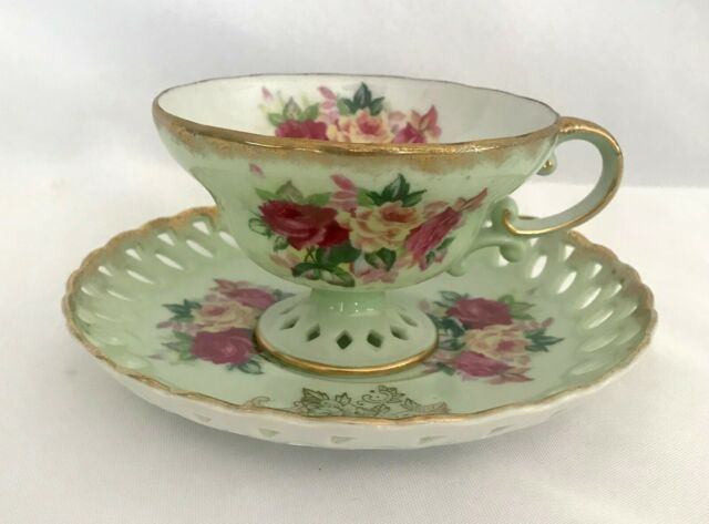 VTG China Footed Tea Cup Saucer Gold Rim Mint Green Marked Japan Wreath Clover