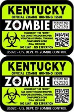 Prosticker 1227 Two 3x 4 Kentucky Zombie Hunting License Decals Stickers