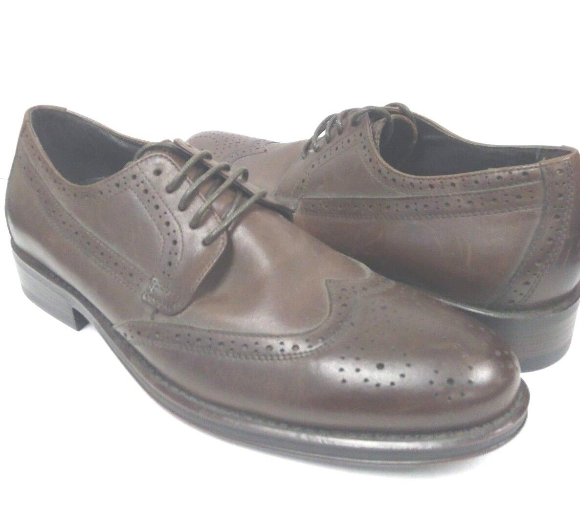 225 Donald Pliner Brown Genuine Leather Wingtip Oxford Dress shoes Size 8.5