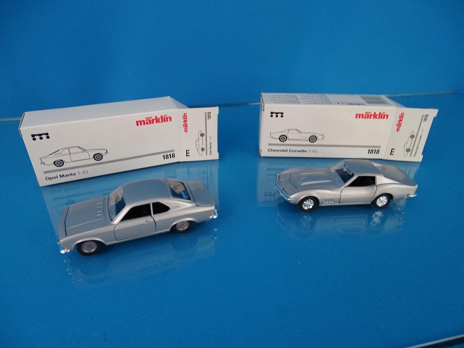 Marklin 1818 Set of 2 cars scale 1 43 Blank metal Chevrolet & OPEL