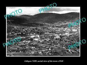 OLD-LARGE-HISTORIC-PHOTO-OF-LITHGOW-NSW-AERIAL-VIEW-OF-THE-TOWN-c1940