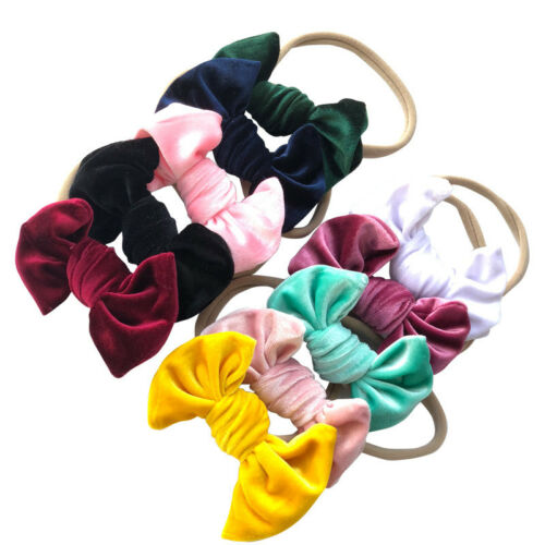 Velvet Baby Girls Headbands Big Bow Soft Headwrap ElasticTies Band Candy Colours