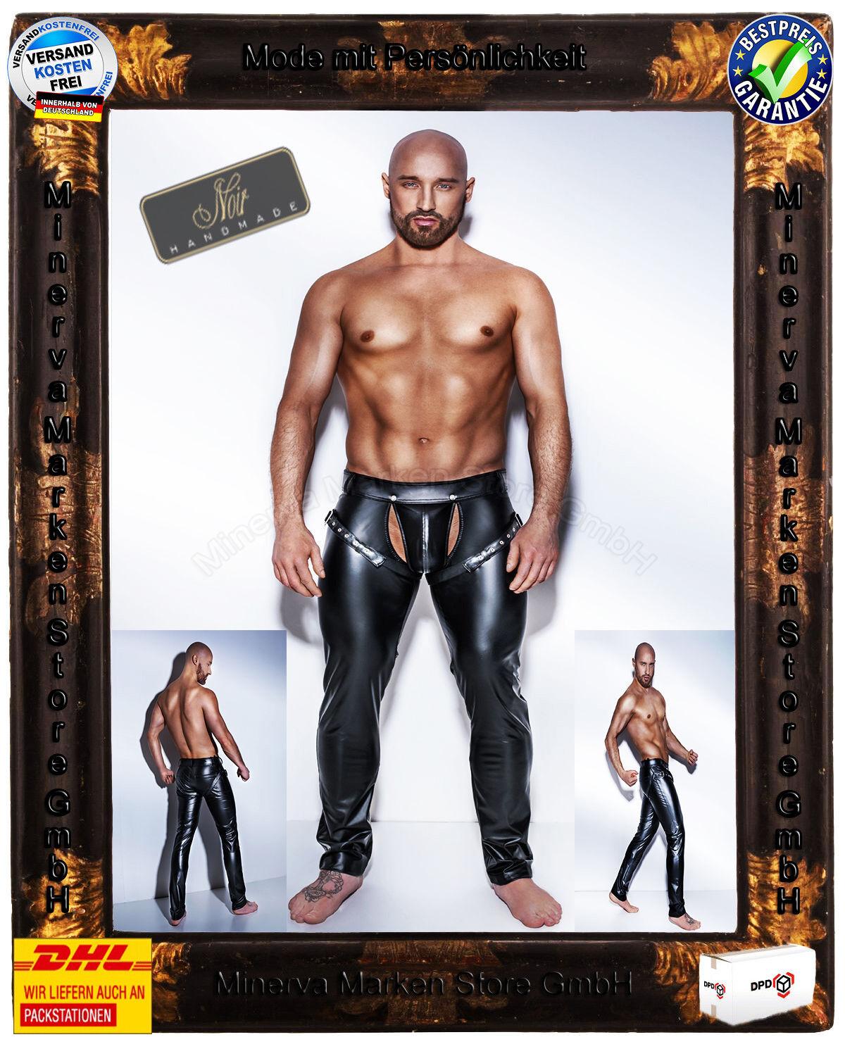 schwarz Handmade schwarze Powerwetlook H042 Hose Harness Clubwear GoGo Gay Gothic