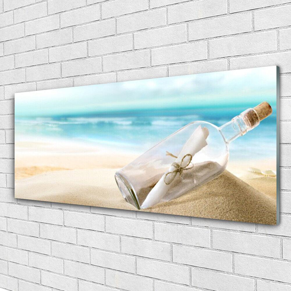 Acrylic print Wall art 125x50 Image Picture Beach Bottle Art